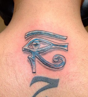 Man with Egyptian symbol blue back tattoo