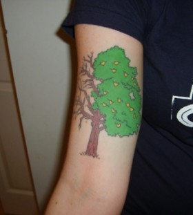 Colorful lemon tree tattoo