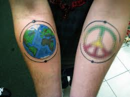 Earth and peace tattoo