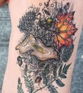 Leafs and forest tattoo by Love Hawk