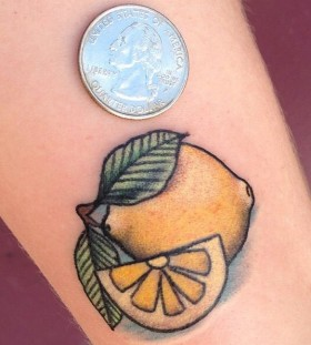 Minimalist lemon tattoo