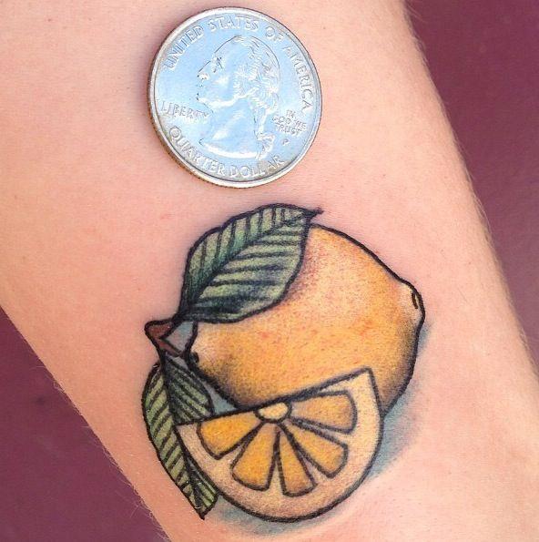 Minimalist lemon tattoo