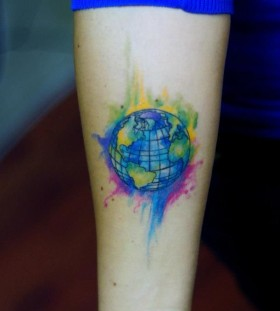 Watercolor earth tattoo