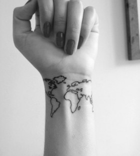 Wrist earth tattoo