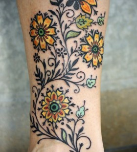 Yellow flower's tattoo by Love Hawk