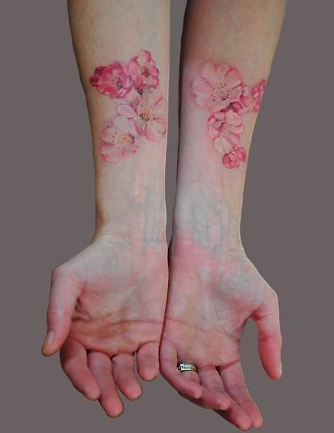 Watercolor flower tattoo both hands