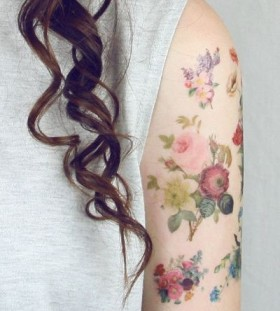 Watercolor flower tattoo detailed style