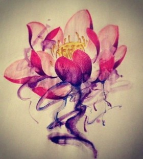 Watercolor flower tattoo idea