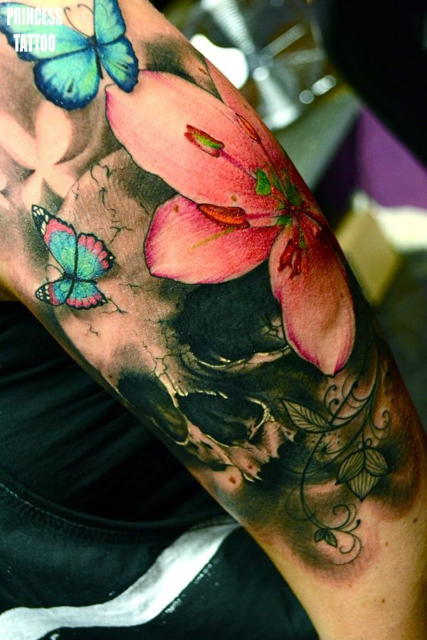 Watercolor flower tattoo its just great