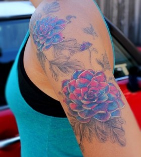 Watercolor flower tattoo love the color