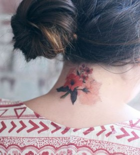 Watercolor flower tattoo simple