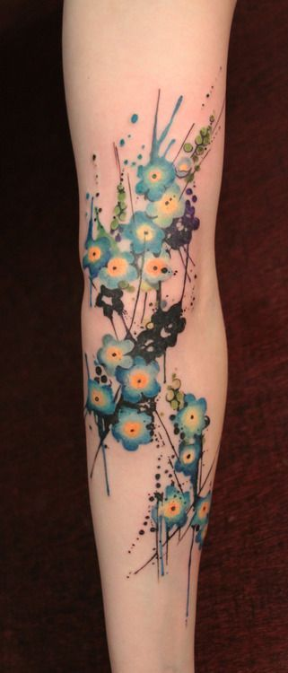 Watercolor flower tattoo unreal blue