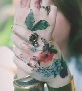 modern Watercolor flower tattoo
