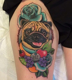 Adorable dog with fruit and vegetable tattoo