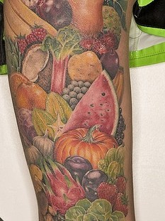 Amazing looking fruit and vegetable tattoo