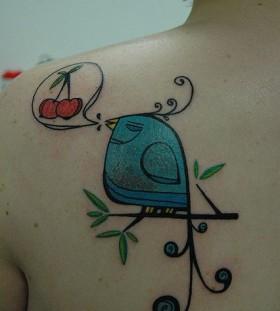 Blue bird with cherry tattoo