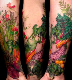 Colorful legs fruit and vegetable tattoo