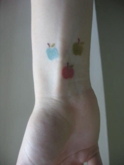 Colorful Small Apple Tattoo -