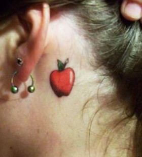 Cool red ear apple tattoo