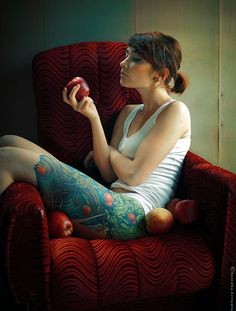 Full girl's leg fruit and vegetable tattoo