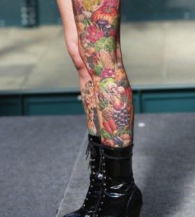 Full leg fruit and vegetable tattoo
