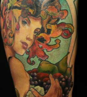 Girl's face and fruit and vegetable tattoo