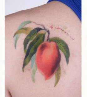 Great looking red fruit and vegetable tattoo