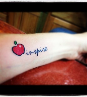 Inspire quote and apple tattoo