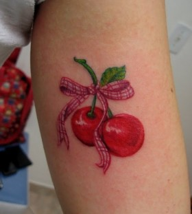 Red lovely cherry tattoo