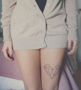 Black simple diamond tattoo on leg