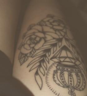 Crown black diamond tattoo on leg