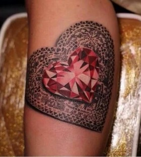 Red lovely heart diamond tattoo on leg