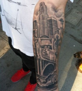 Amazing buildings Los Angeles style tattoo