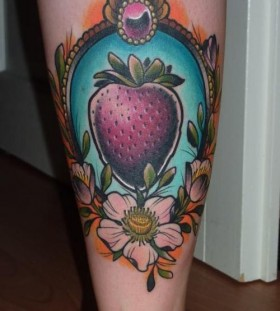 Amazing strawberry tattoo