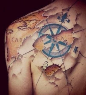Awesome looking map tattoo
