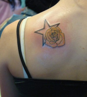 Black star's and yellow rose tatoo