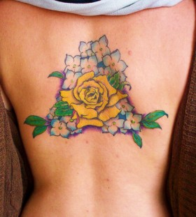 Blue and white flowers yellow rose tattoo