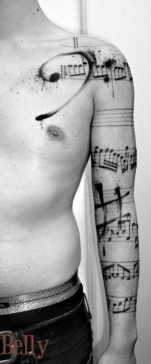 Cool looking music note tattoo