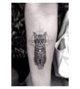 Cute cat Los Angeles style tattoo