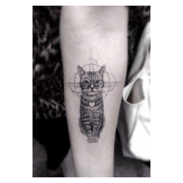 Cute cat Los Angeles style tattoo