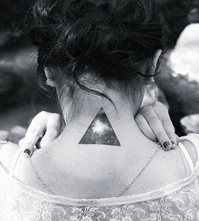 Galaxy Tattoo triangle on the back