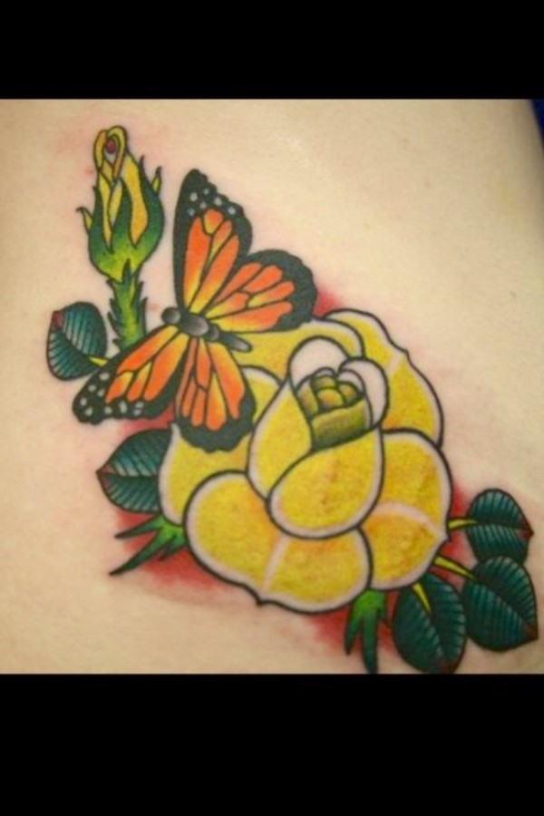 Gorgeous butterfly and yellow rose tattoo