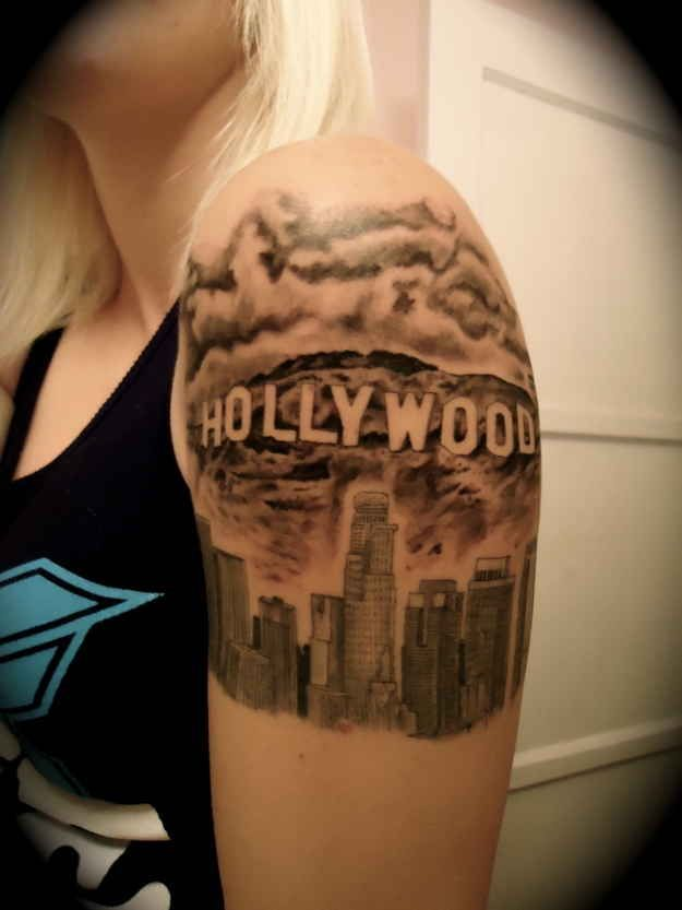 Hollywood shoulder Los Angeles style tattoo