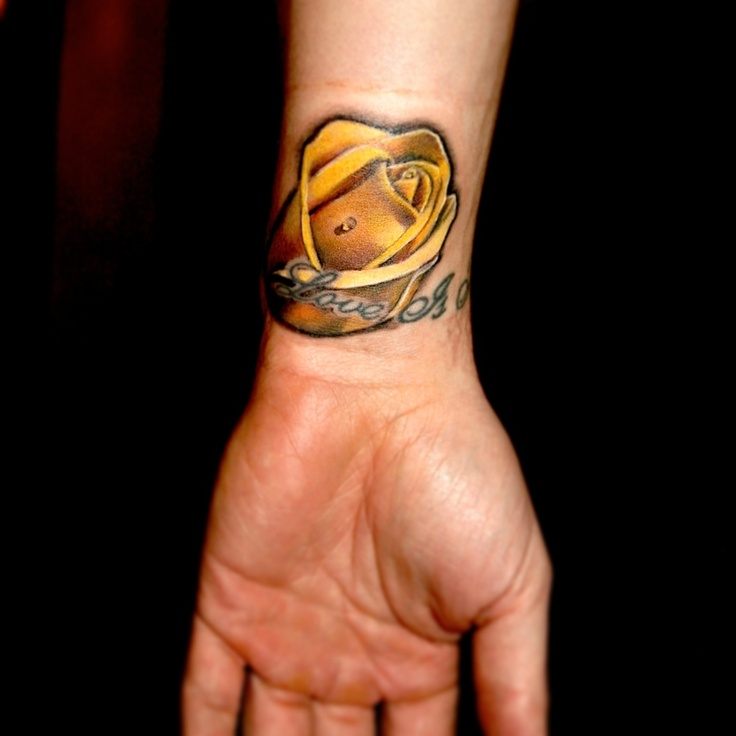 Love letters and yellow rose tatoo