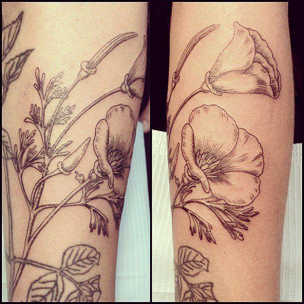 Pretty black flowers Los Angeles style tattoo