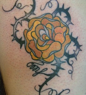 Pretty looking yellow rose tattoo