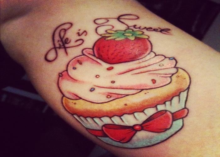 Strawberry muffin tattoo