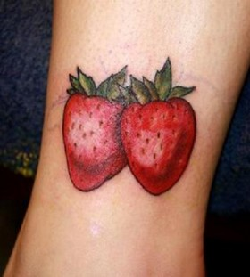 Two strawberrys tattoo