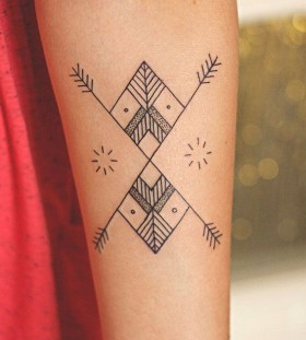 Adorable black geometric tattoo
