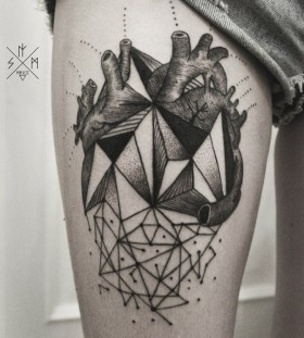 Awesome heart geometric tattoo